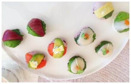 子供も食べやすいようにと手まり寿司。