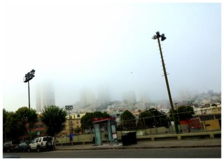 まだ低い霧にすっぽり包まれているRussian Hill